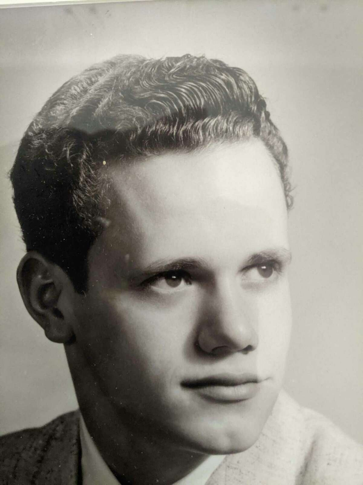 Ted Eastman poses for his high school yearbook photo in 1956. The young woman he would marry in 1958, Marge Melchi, also graduated in 1956.