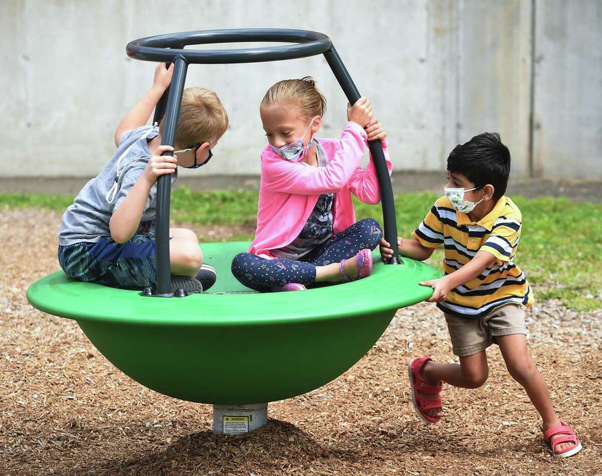 Students play during recess at summer school at John B. Sliney Elementary School in Branford Aug. 2, 2021.