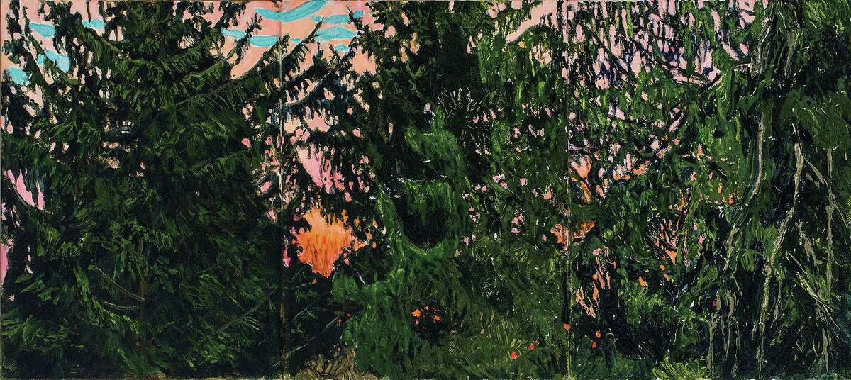 """The Washington Art Association & Gallery is presenting a retrospective art show of the paintings of Margaret Grimes. Pictured is: """"Dawn, Old Evergreens, Baldwin Hill, (triptych),"""" 2015, oil on linen, 12 x 26 inches."""