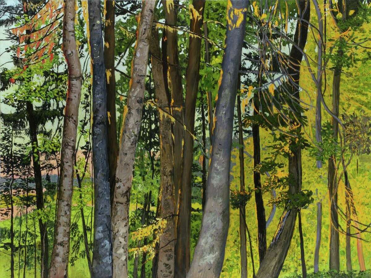 """The Washington Art Association & Gallery is presenting a retrospective art show of the paintings of Margaret Grimes. Pictured is """"Dawn Elegy (triptych),"""" 2010-2011, oil on linen, 72 x 120 inches."""