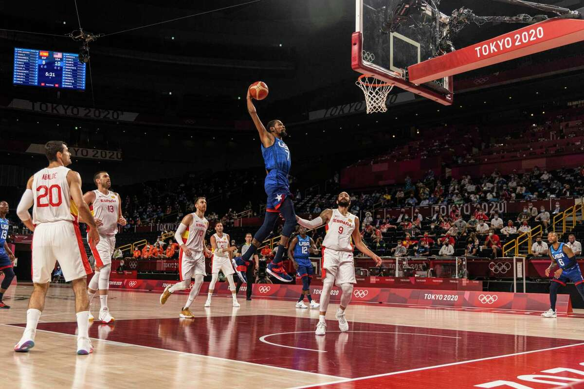 Kevin Durant of the United States goes to the hoop during their men's basketball game against Spain at the postponed 2020 Tokyo Olympics in Saitama, Japan on Aug. 3, 2021. Durant led the United States past Spain and into the Olympic semifinals.