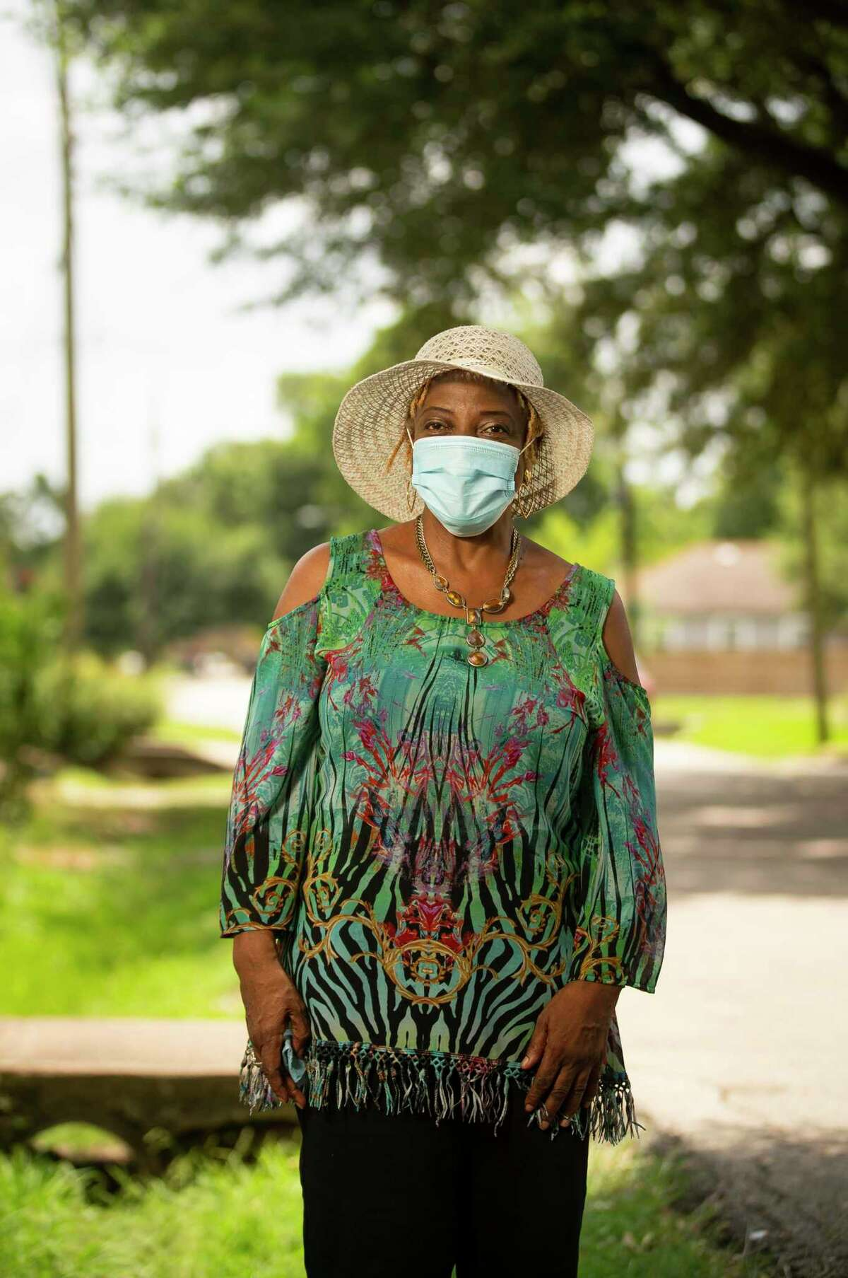Like many people, Joetta Stevenson has been trying to find ways to talk to unvaccinated friends and family about receiving the vaccine against COVID-19. Photographed outside her home, Sunday, Aug. 1, 2021, in Houston.