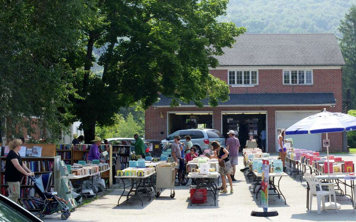 Scene from a past library book sale during the Chamber of Commerce's annual Sidewalk Sales Days.