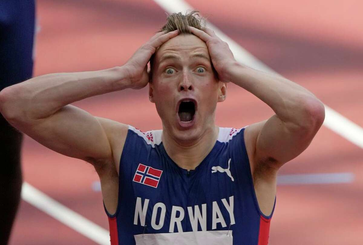 Norway's Karsten Warholm can't believe he broke his 400- meter hurdles record by more than three quarters of a second.