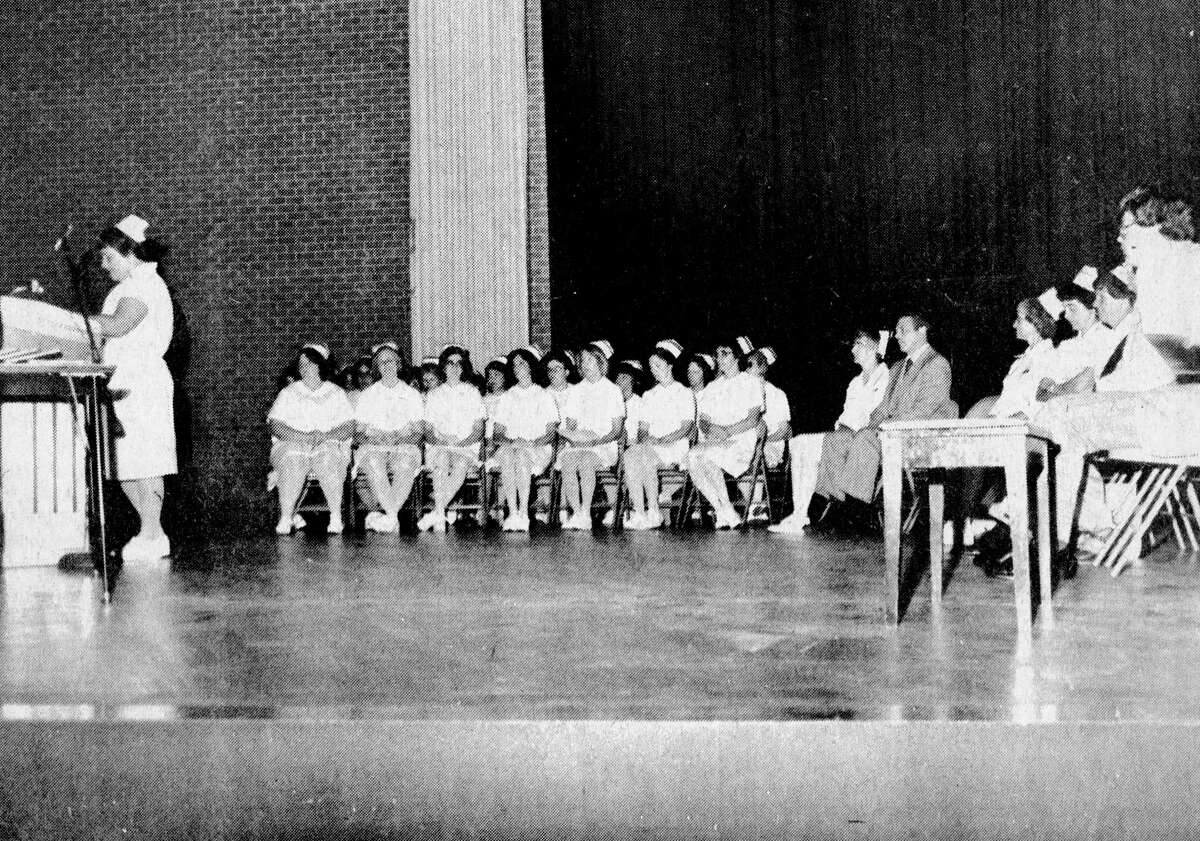 Sheryl Wygant, a registered nurse, delivers the featured address at Sunday's West Shore Community College graduation ceremonies for 23 practical nursing graduates. The photo was published in the News Advocate on Aug. 4, 1981. (Manistee County Historical Museum photo)