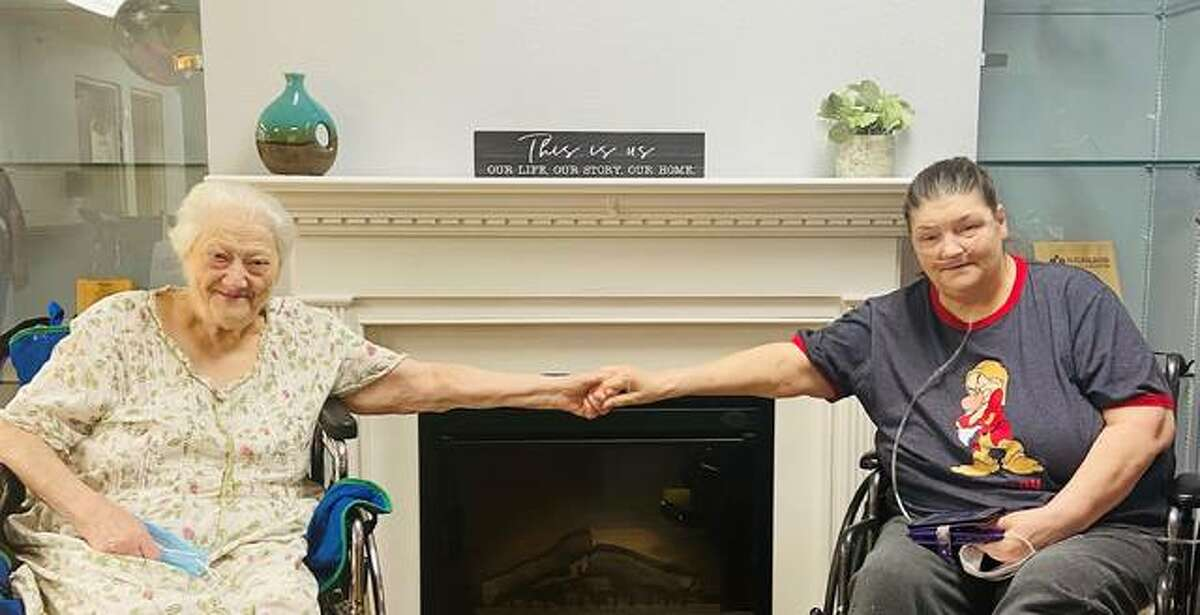 Former coworkers Rosemary Crowell and Cynthia Ley were recently reunited during bingo at the Highland Health Care Center. Both of the women were undergoing short-term rehab for broken ankles.