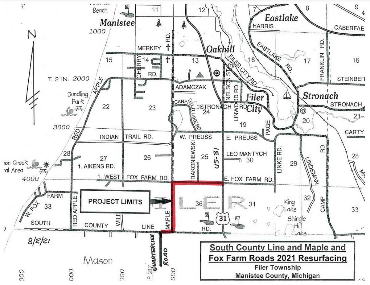 This map outlines resurfacing work that will take place starting around Aug. 3 in Filer Township. (Courtesy map)
