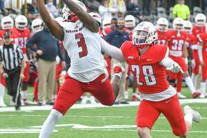 Sacred Heart junior wide receiver Naseim Brantley leads the Pioneers with 14 receptions, 201 yards and two touchdowns. Football, April 2021