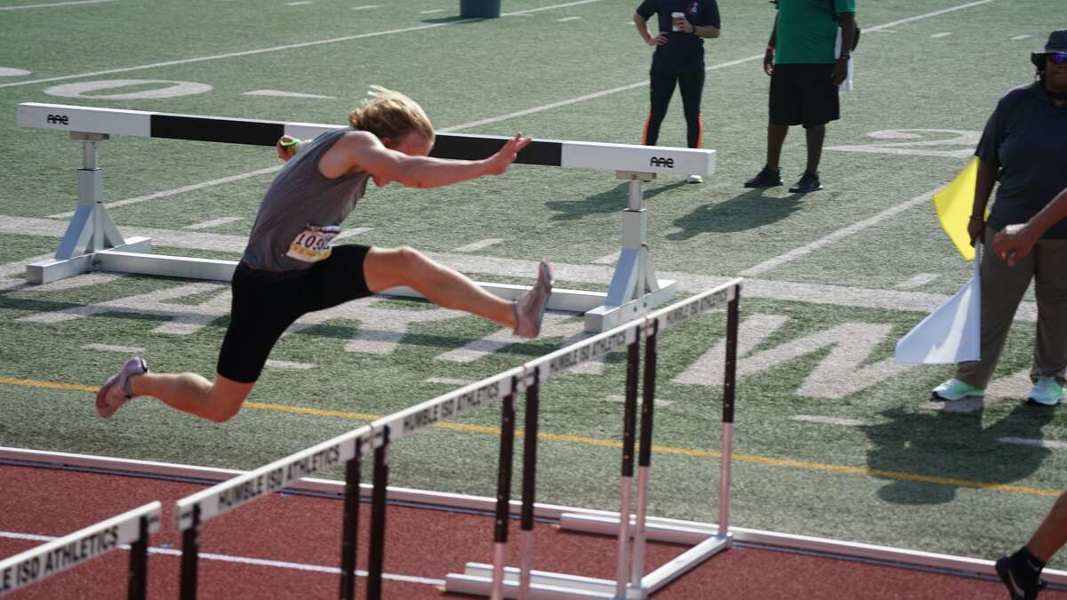 Dow High senior Noah Reuter-Gushow competes in the 110-meter hurdles during the 2021 AAU Junior Olympics decathlon in Houston, Texas recently.