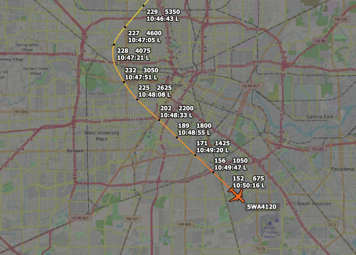 Southwest Airlines flight 4120 rounded near downtown Houston at 2,600 feet before making a safe landing at Hobby Airport on Tuesday, Aug. 3, 2021.