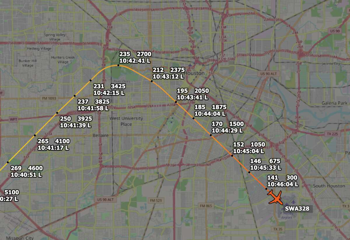 Southwest Airlines flight 328 rounded near downtown Houston at 2,000 feet before making a safe landing at Hobby Airport on Tuesday, Aug. 3, 2021.