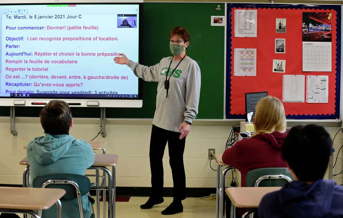 Coleytown Middle School French teacher Sharon Gardener instructs her class at the newly renovated school on Tuesday, January 5, 2021, in Westport, Conn.