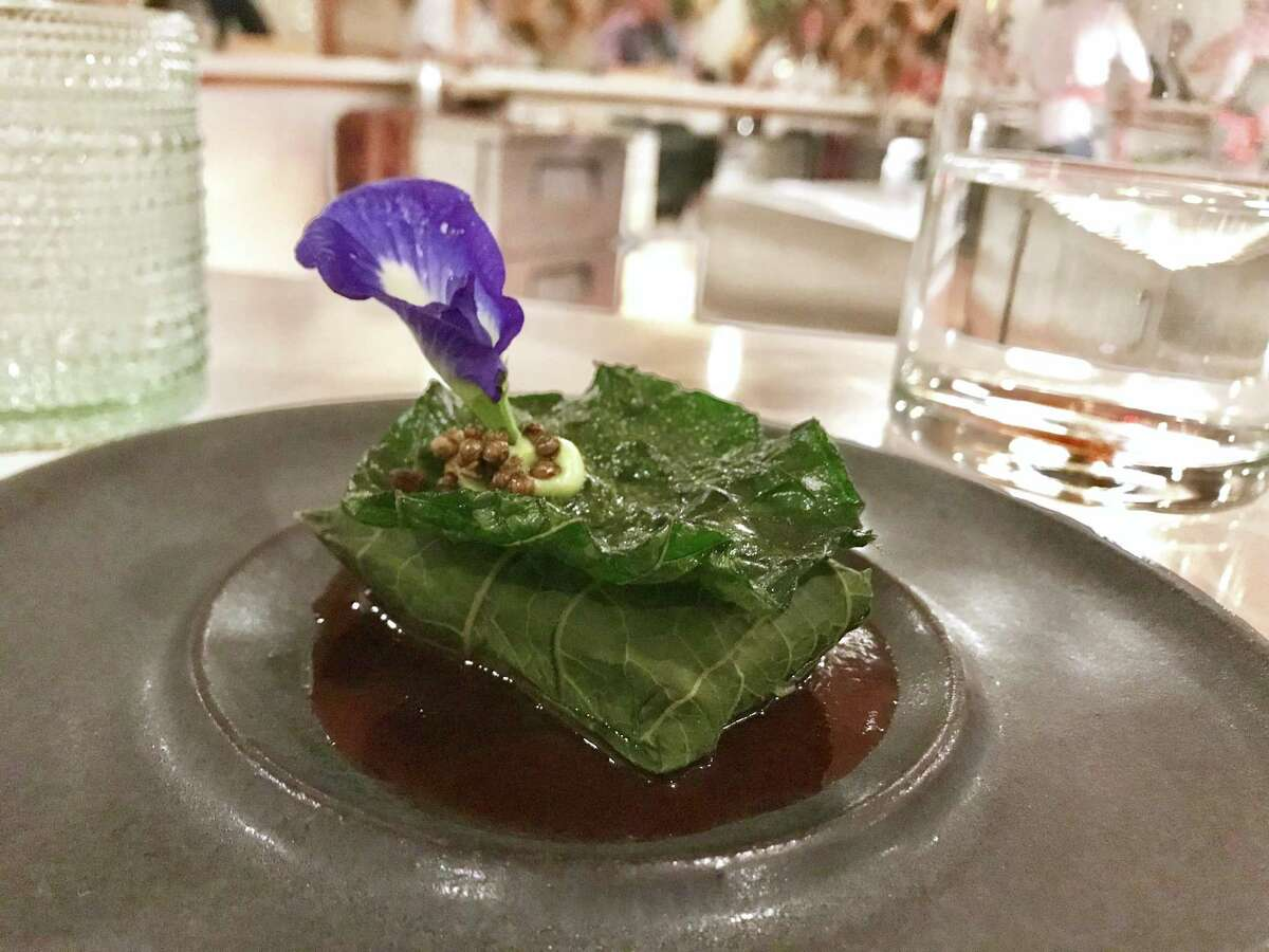 Gulf fish wrapped in hoja santa at Degust