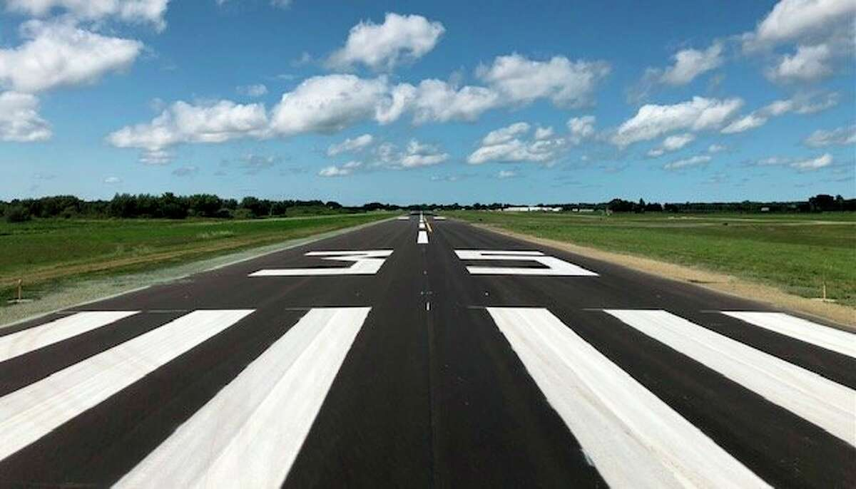 The newly renovated runways at Huron County Memorial Airport feature a new asphalt surface and fresh paint. Renovations for the 5,009 foot runway at the airport took two months to complete. (Chris Jackson/Courtesy Photo)