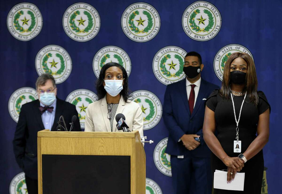 Fort Bend County director of health and human services Jacquelyn Minter talked to reporters during a press conference in which local officials announced the COVID-19 risk level has been increased for the county, on Tuesday, Aug. 3, 2021, in Richmond.