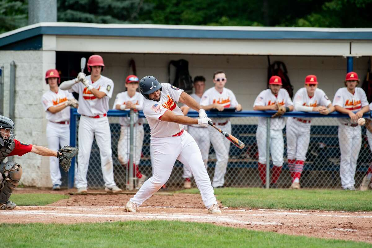 Berryhill Post 165's Avain Rivera makes contact during a July 24, 2021 American Legion Zone 4 tournament final against Gladwin Post 171.