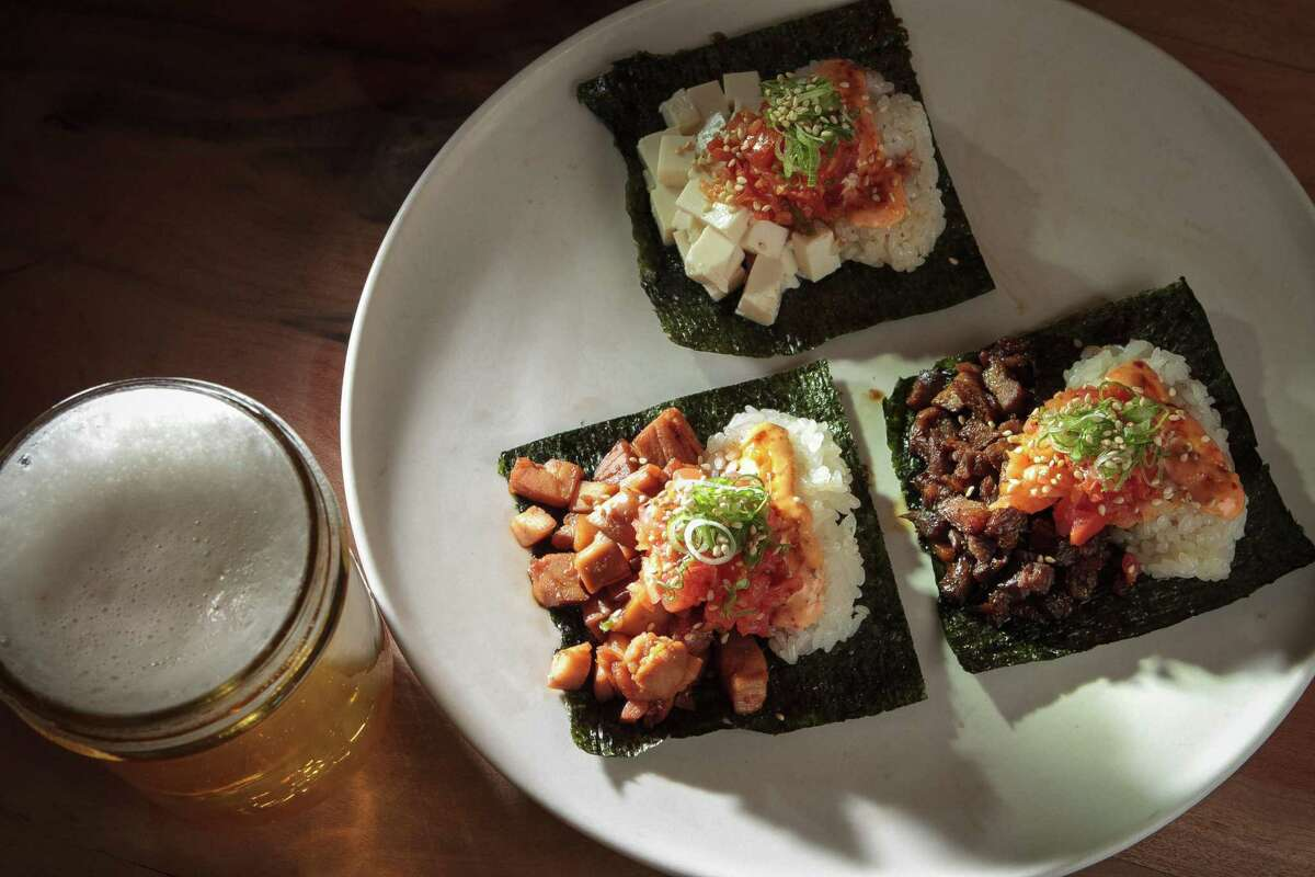 Chicken, beef and tofu Korean tacos with Magnolia's Tillie's Union Ale at Namu Gaji in S.F.
