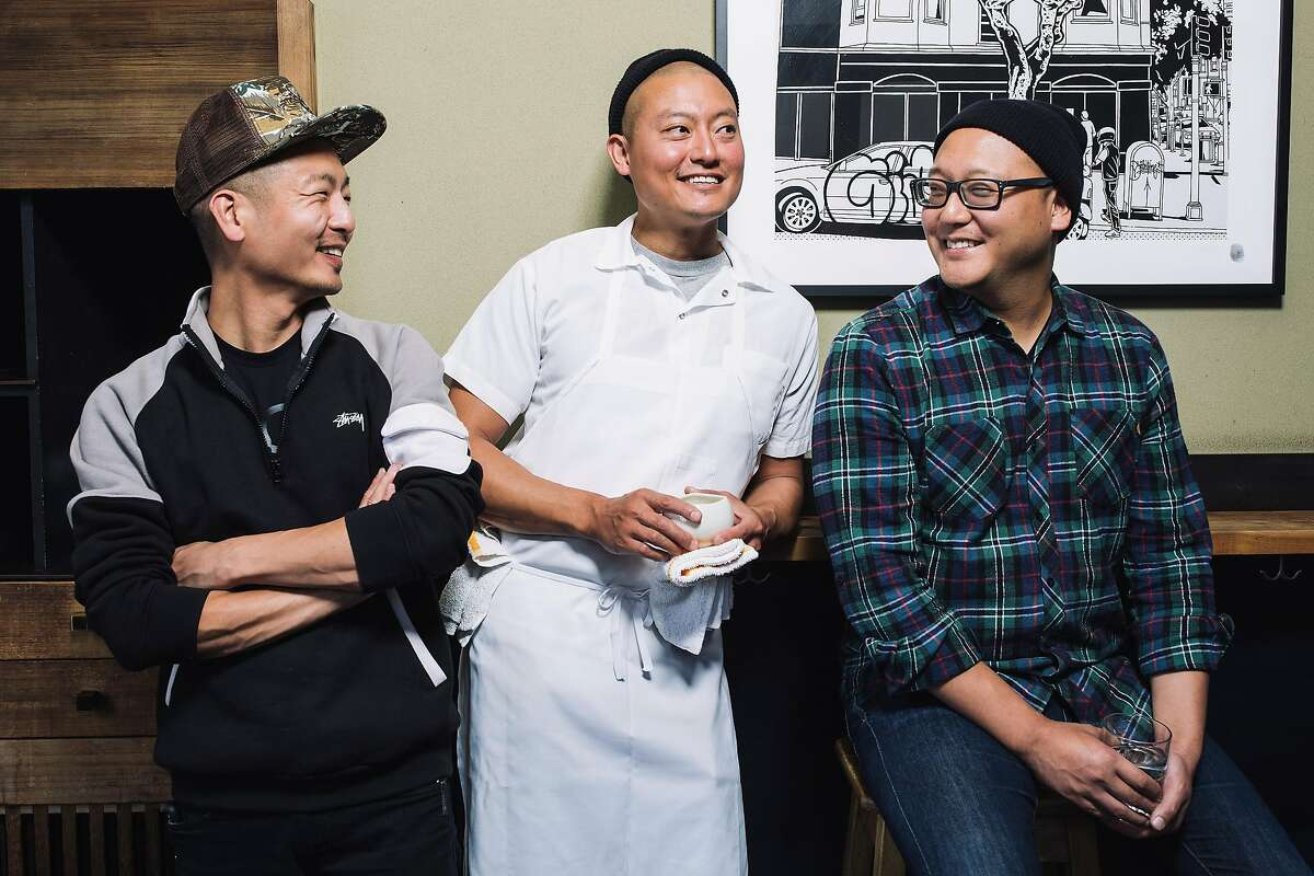 David (left), Dennis and Daniel Lee, brothers and owners of Namu Gaji in S.F., in 2016.