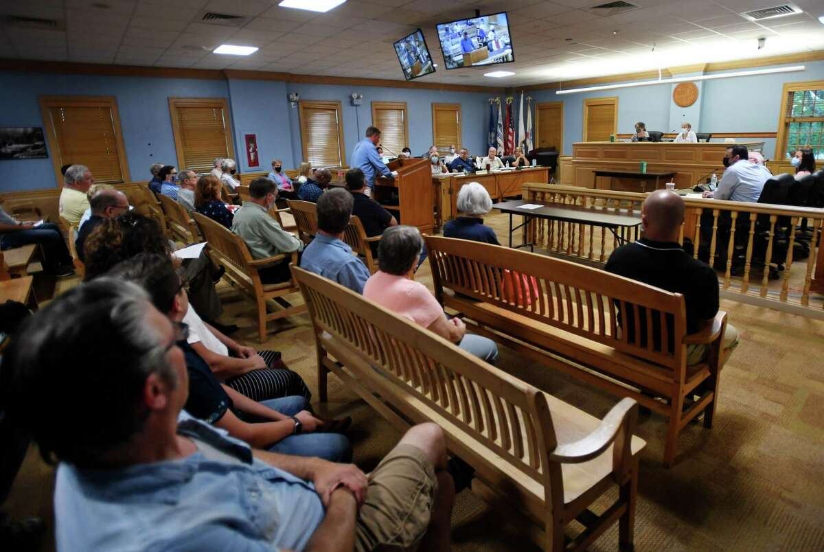 Trumbull residents address the Town Council about the appointment of four new members to the town's Diversity and Inclusion Task Force during the council meeting at Town Hall in Trumbull, Conn. on Monday, August 2, 2021.