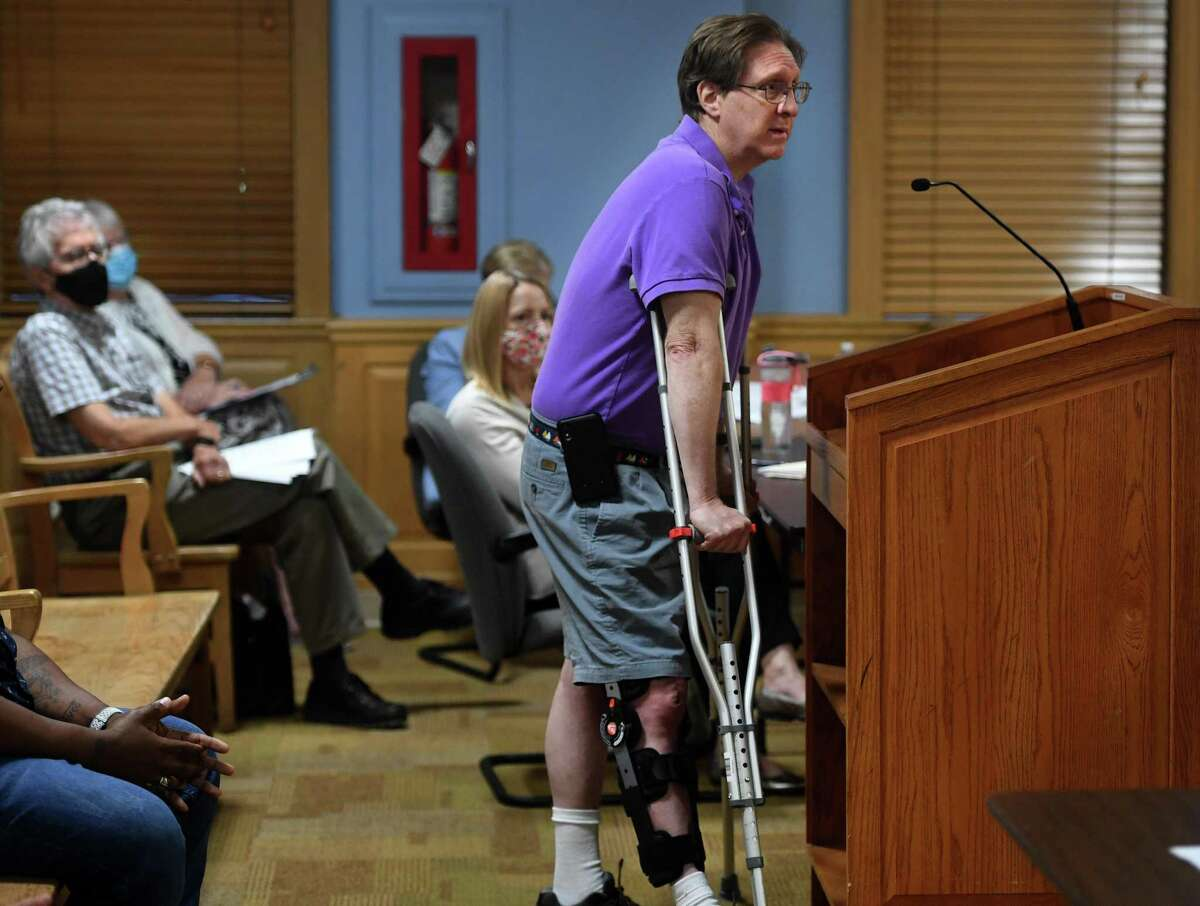 David Rosenburg, a new member of the town's Diversity and Inclusion Task Force, is questioned by council members at Town Hall in Trumbull, Conn. on Monday, August 2, 2021.