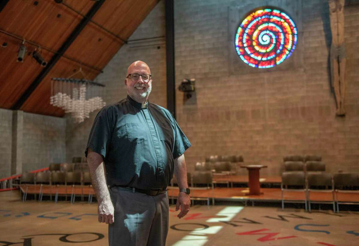 Rev. Larry Rice is seen in the he Chapel and Cultural Center on Tuesday, Aug. 3, 2021 in Troy N.Y. Rice, a native New Yorker, recently moved from Austin Texas where he was a Catholic Chaplain at the University of Texas and will be taking over the chaplain's post at Rensselaer Polytechnic institute.