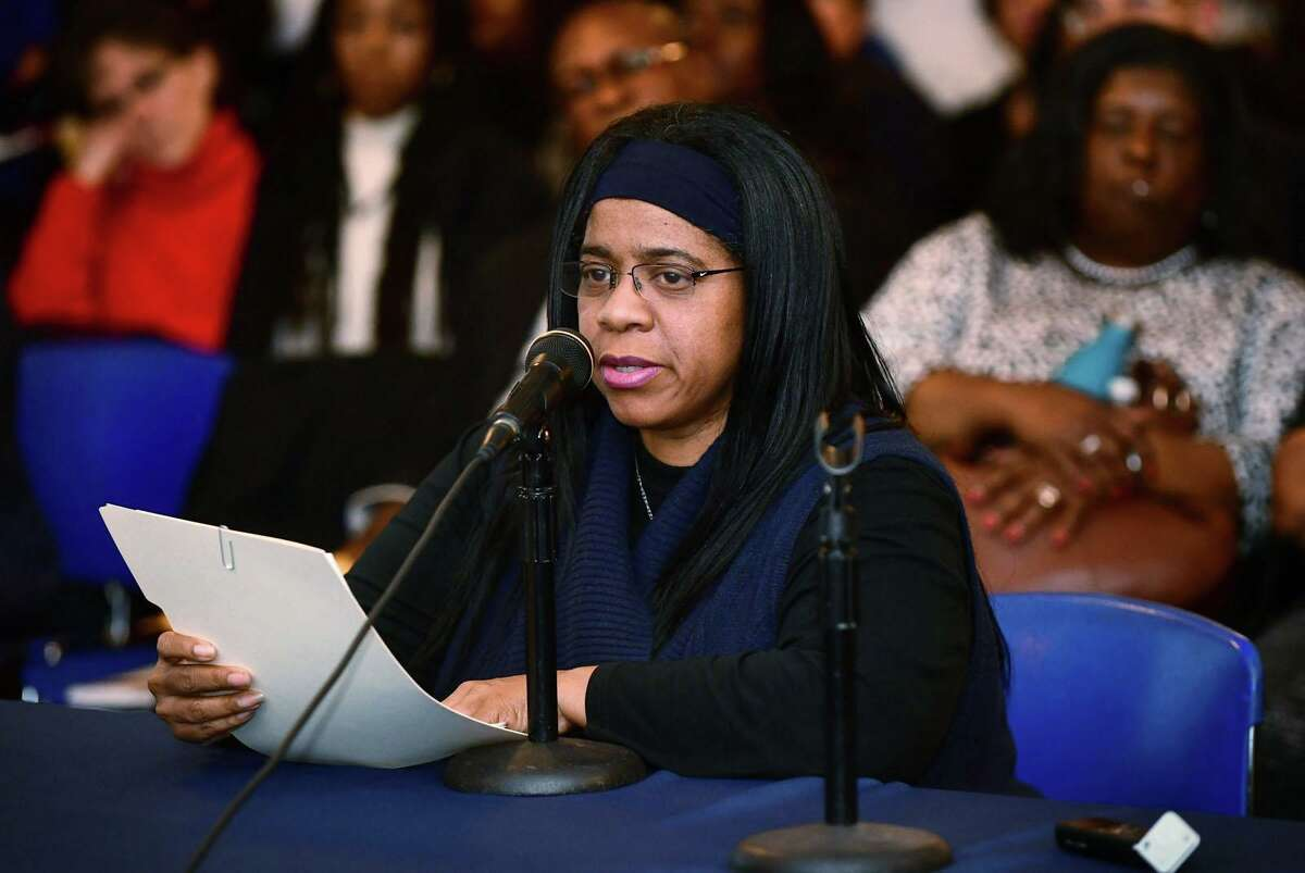 Shirley Mosby, a former member of the Norwalk Board of Education, speaks during a public meeting Tuesday, November 19, 2019, where members were sworn in and the Norwalk NAACP urged the resignation of former BOE Chair Mike Barbis in the Norwalk City Hall Community Room in Norwalk, Conn.