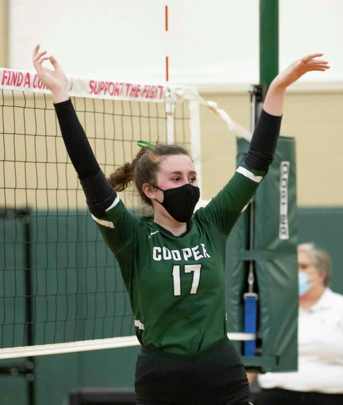 John Cooper outside hitter Tatum Threadgill (17) reacts after her team wins the second set of a Southwest Preparatory Conference match against Episcopal at The John Cooper School, Tuesday, Oct. 20, 2020.
