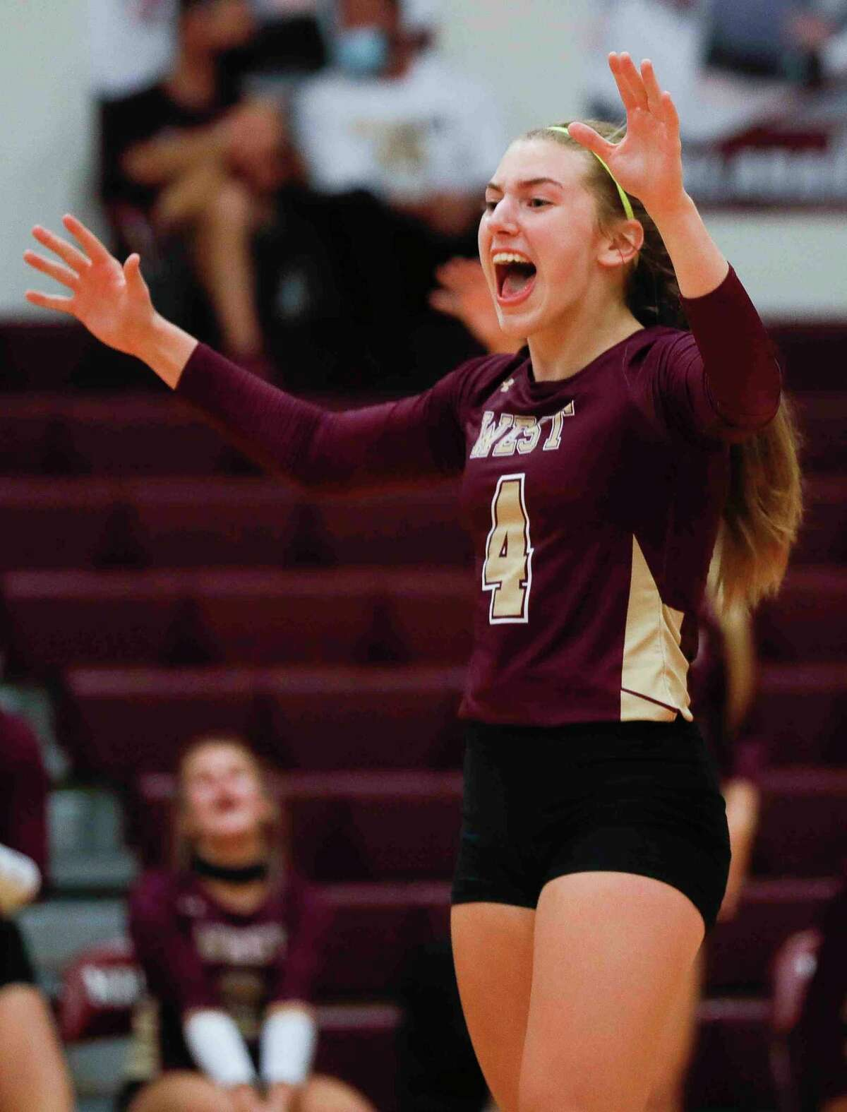 Magnolia West setter Bethany May (4) reacts after a point during the first set of a District 19-5A high school volleyball match at Magnolia High School, Tuesday, Oct. 6, 2020, in Magnolia.