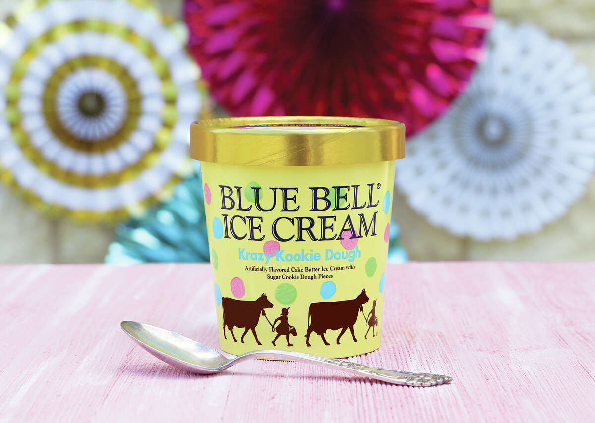 Blue Bell's Krazy Kookie Dough ice cream is is described as our flavorful Cake Batter Ice Cream loaded with sugar cookie dough pieces in bright shades of green, blue and pink. The flavor first introduced for retail in 2013 and is not sold year-round.