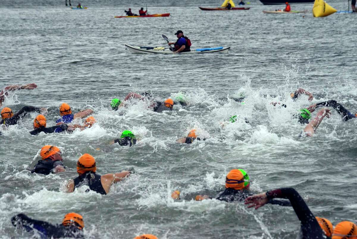 The annual Swim Across America Greenwich-Stamford Open Water Swim on June 23, 2018, in Stamford. Participants swam in the open waters of Long Island Sound to raise money to fight cancer.