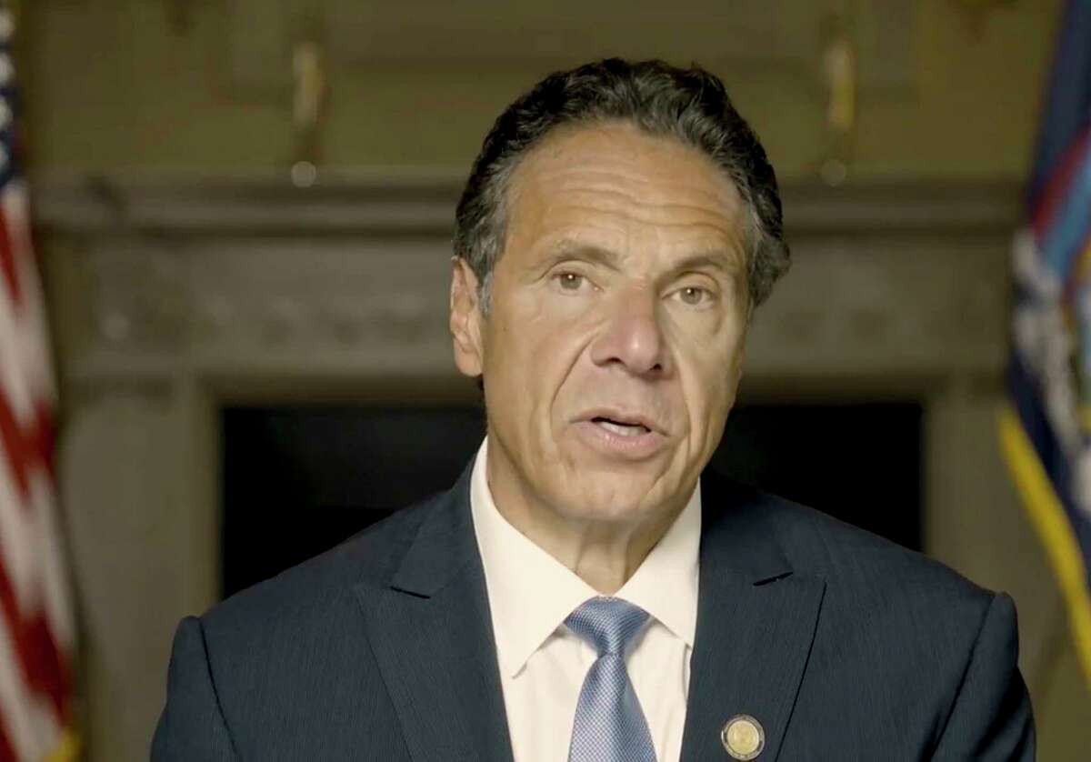 In this image taken video provided by Office of the NY Governor, New York Gov. Andrew Cuomo makes a statement in a pre-recorded video released, Tuesday, Aug. 3, 2021, in New York. An investigation into New York Gov. Andrew Cuomo has found that he sexually harassed multiple current and former state government employees. State Attorney General Letitia James announced Tuesday.