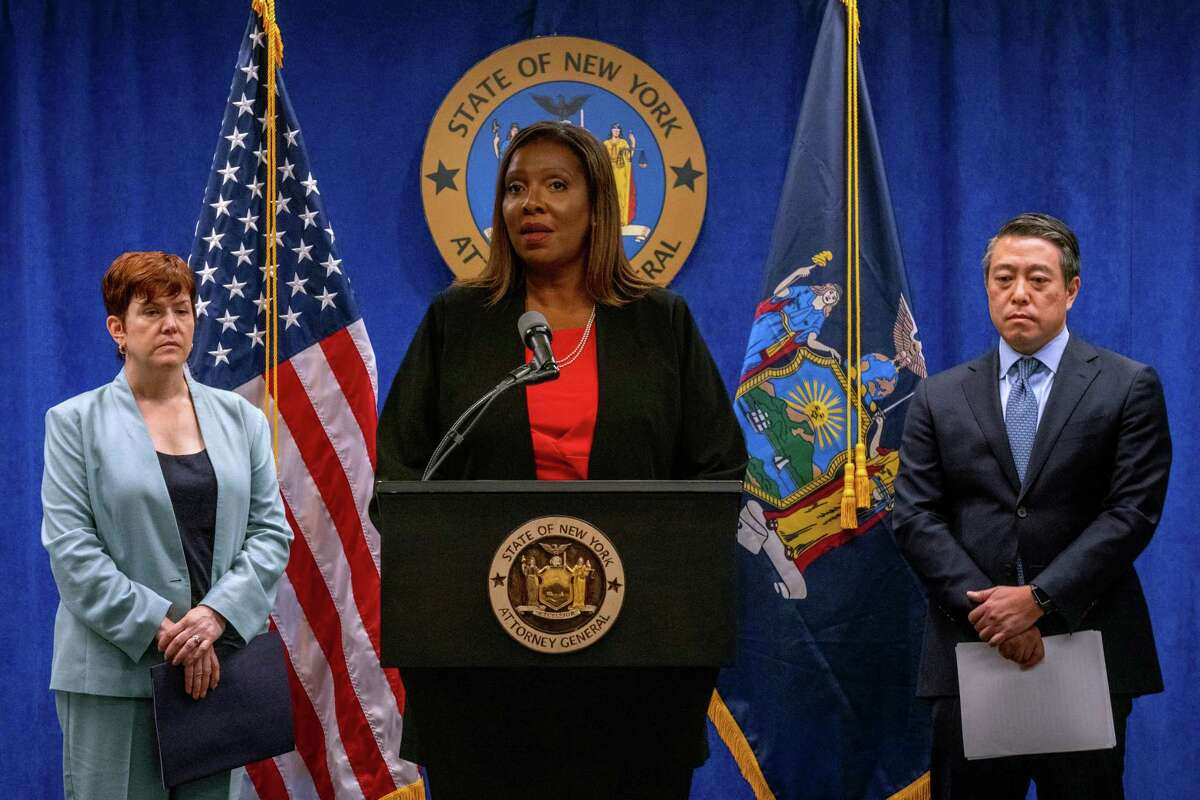 NEW YORK, NY - August 03: New York Attorney General Letitia James (C) and independent investigators Anne L. Clark (L) and Joon H. Kim present the findings of an independent investigation into accusations by multiple women that New York Governor Andrew Cuomo sexually harassed them on August 3, 2021 in New York City. The investigators concluded that the Governor sexually harassed multiple women.