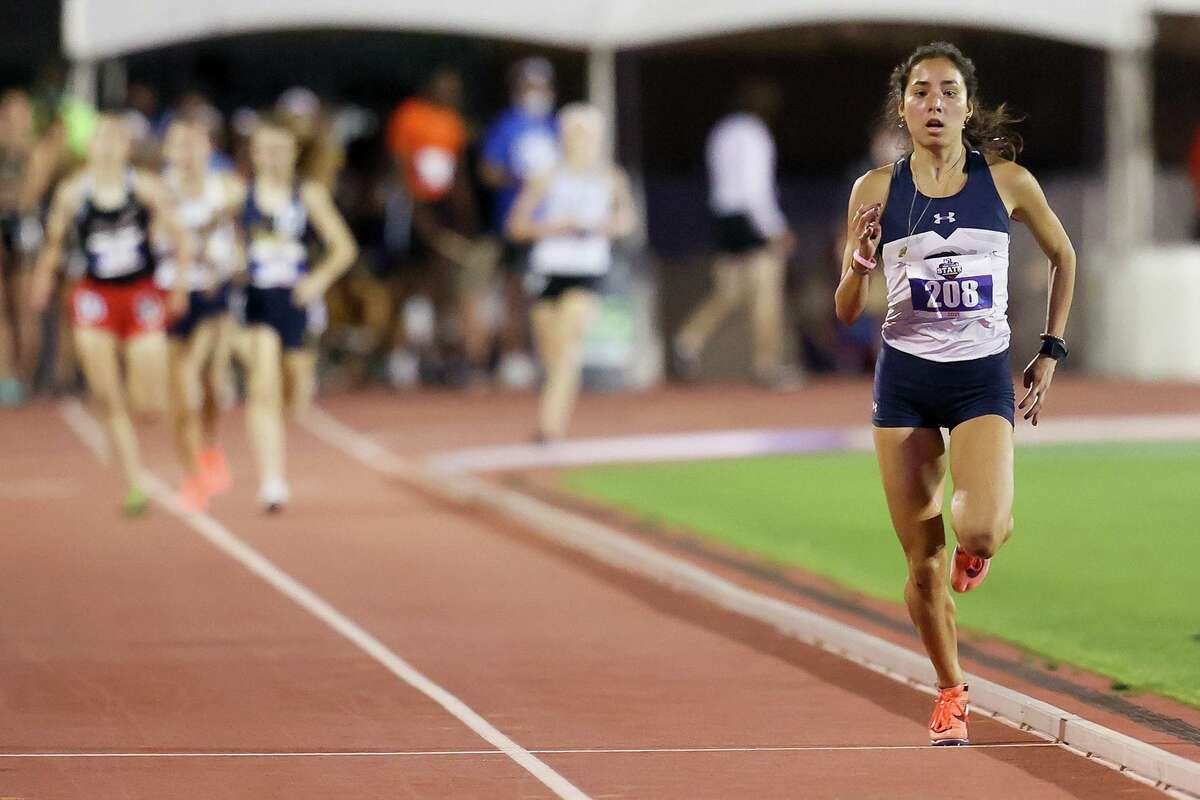 Boerne Champion's Anastacia Gonzales runs away from the field as she approaches the finish line of the 5A girls 1600-meter run in the UIL state track and field championships at Mike A. Myers Stadium in Austin on Friday, May 7, 2021. Gonzales won the event with a time of 4:49.11.