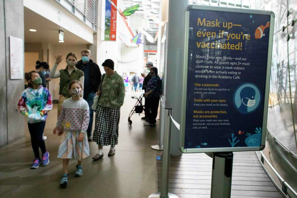 Masked visitors enjoy exhibits at the California Academy of Sciences exhibits in San Francisco. Residents of the city and greater Bay Area have been good COVID citizens.
