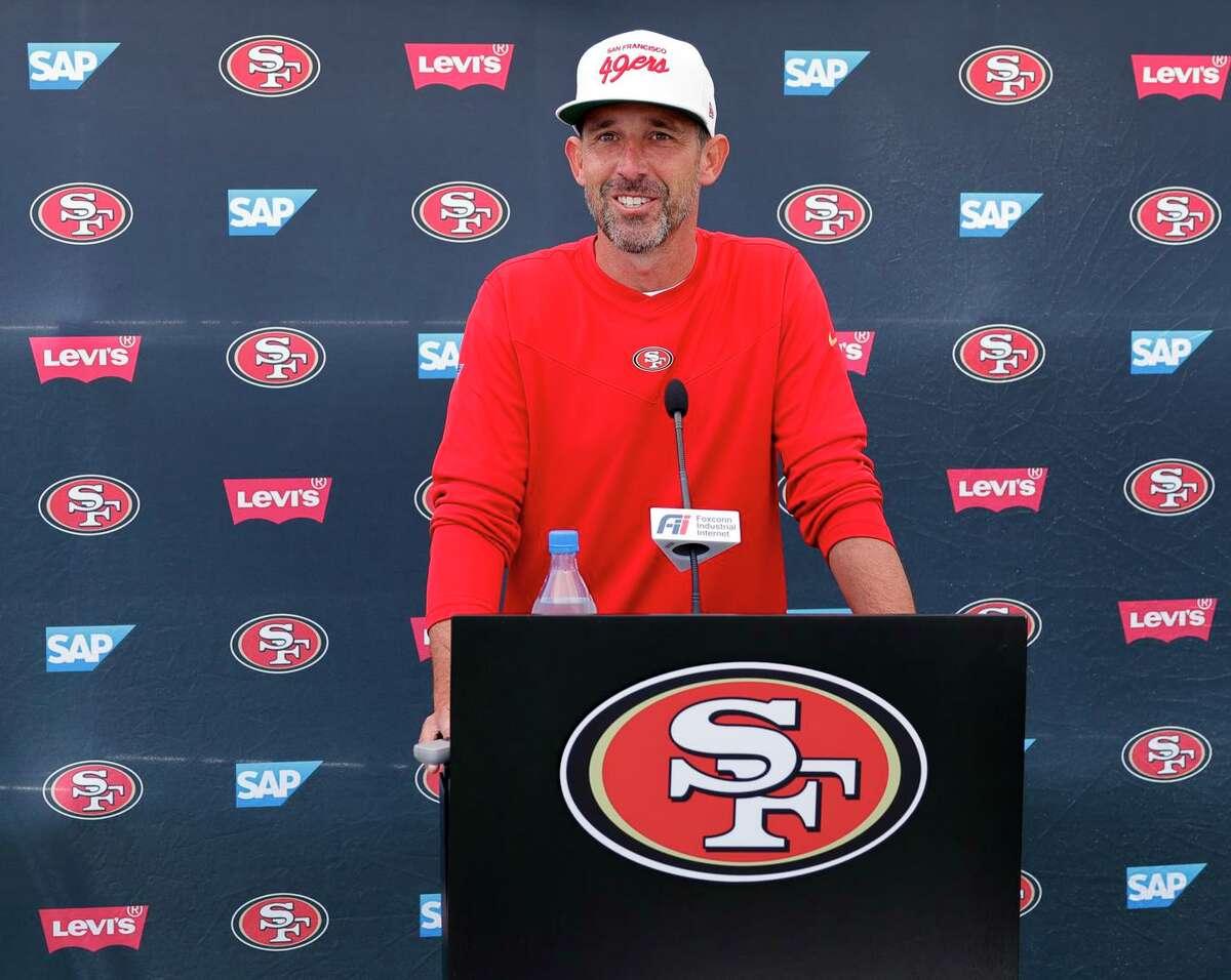 San Francisco 49ers head coach Kyle Shanahan speaks with the media Tuesday in Santa Clara.