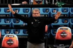 Connecticut head coach Geno Auriemma reacts on the sideline during the first half of a women's Final Four NCAA college basketball tournament semifinal game against Arizona Friday, April 2, 2021, at the Alamodome in San Antonio. (AP Photo/Morry Gash)
