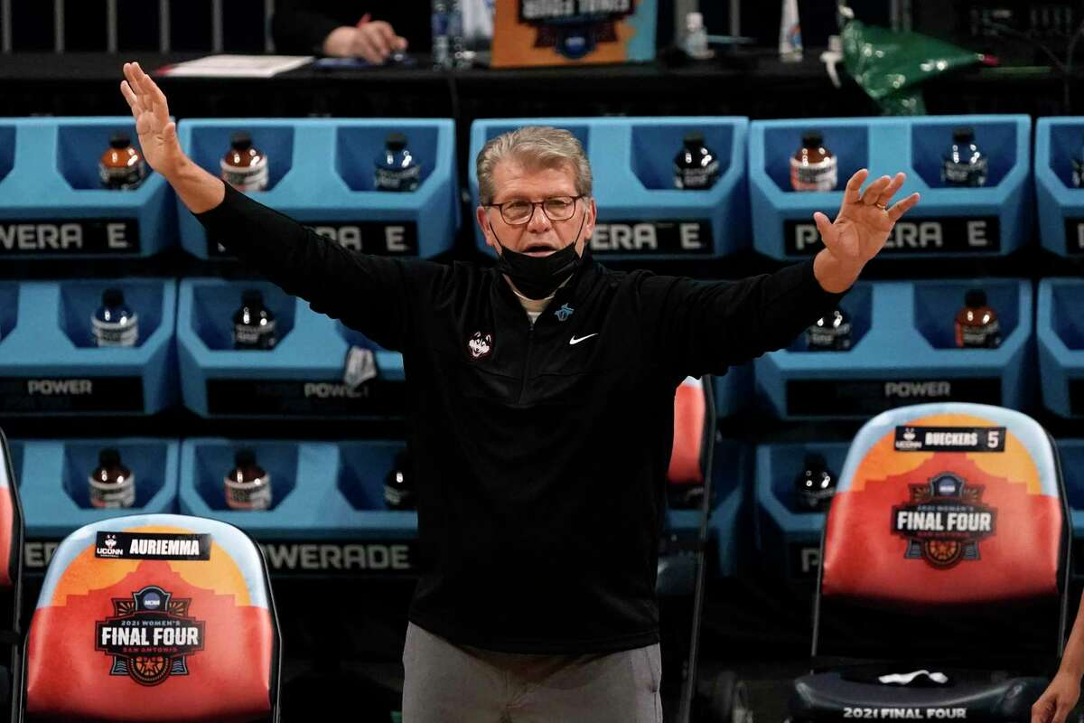 UConn coach Geno Auriemma reacts on the sideline during the first half of a women's Final Four NCAA tournament semifinal game against Arizona on April 2, 2021, at the Alamodome in San Antonio.