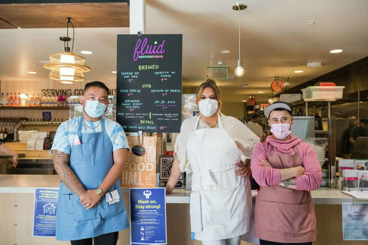 From left: Co-owners JoJo Ty, Santana Tapia and Shannon Amitin at their new Fluid Cooperative at La Cocina Municipal Marketplace in San Francisco.
