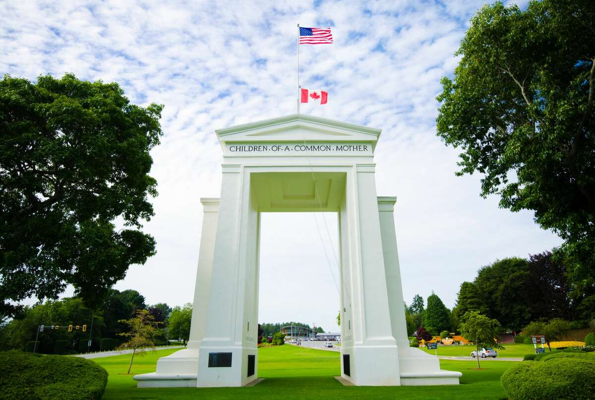 Peace Arch Park at United States and Canada border between the communities of Blaine, Washington and Surrey, British Columbia.