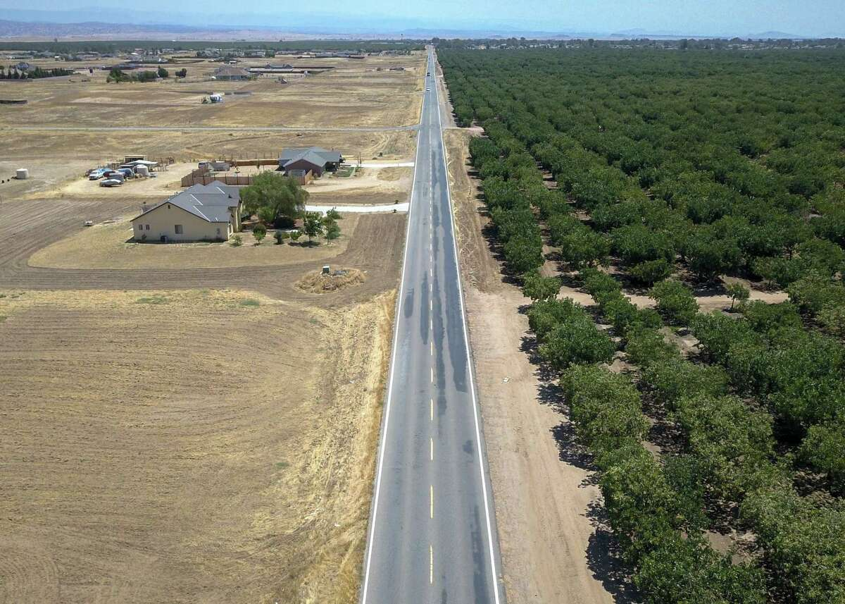 Avenue 21 divides a green almond grove and dried grasslands as temperatures soar and drought continues to grip the state in Madera last month.