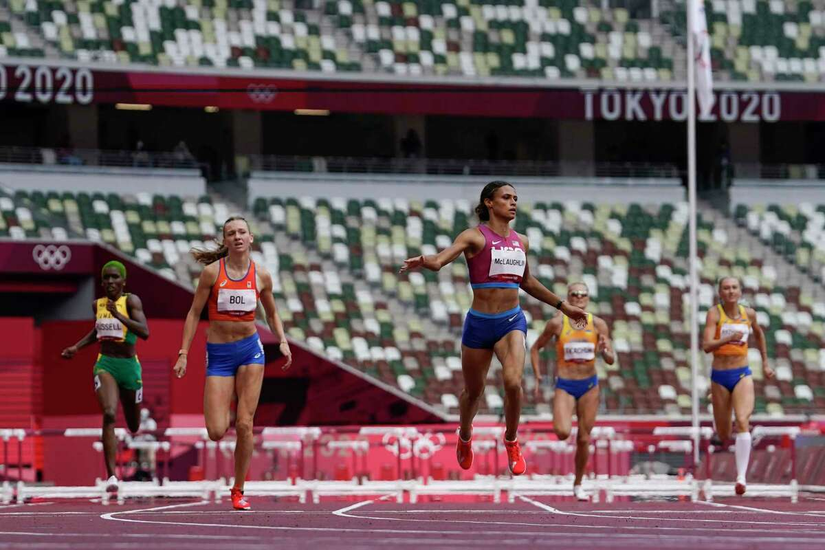 Sydney Mclaughlin, of the United States, wins the women's 400-meter hurdles final at the 2020 Summer Olympics, Wednesday, Aug. 4, 2021, in Tokyo, Japan.
