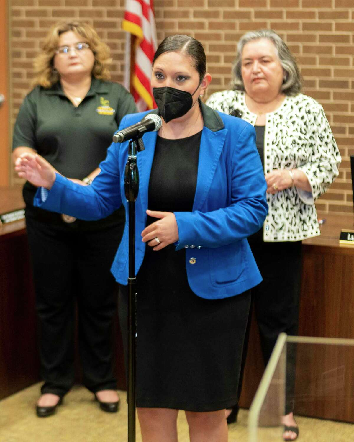 Laredo College Interim President Dr. Marisela Rodriguez Tijerina announces the Debt Forgiveness and Tuition On Us programs for students that faced economic struggle due to the COVID-19 pandemic, Tuesday, Aug. 3, 2021, at Laredo College.