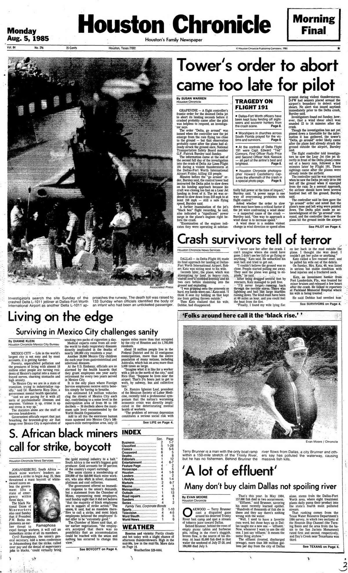 Houston Chronicle front page from Aug. 5, 1985.