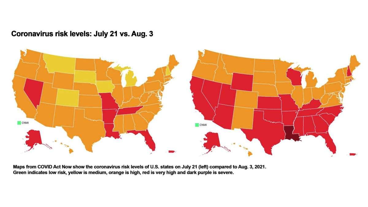 Coronavirus risk levels of U.S. states, July 21 (left) and Aug. 3, 2021.