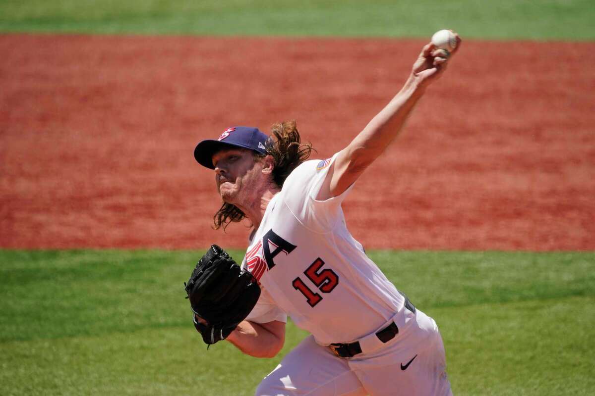 United States' Scott Kazmir pitches in the second inning of a baseball game against the Dominican Republic at the 2020 Summer Olympics, Wednesday, Aug. 4, 2021, in Yokohama, Japan.