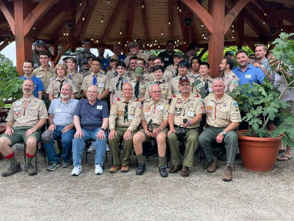 More than 100 current and past members of Shelton Scout Troop 28 celebrated the troop's 50th birthday bash at Jones Family Farms winery on Saturday.