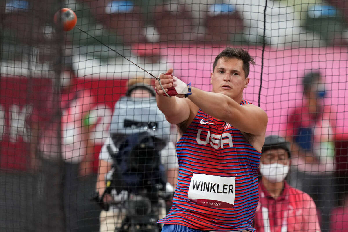 Averill Park graduate Rudy Winkler competes in the final of the men's hammer throw at the 2020 Summer Olympics, Wednesday, Aug. 4, 2021, in Tokyo. (Matthias Schrader/Associated Press)