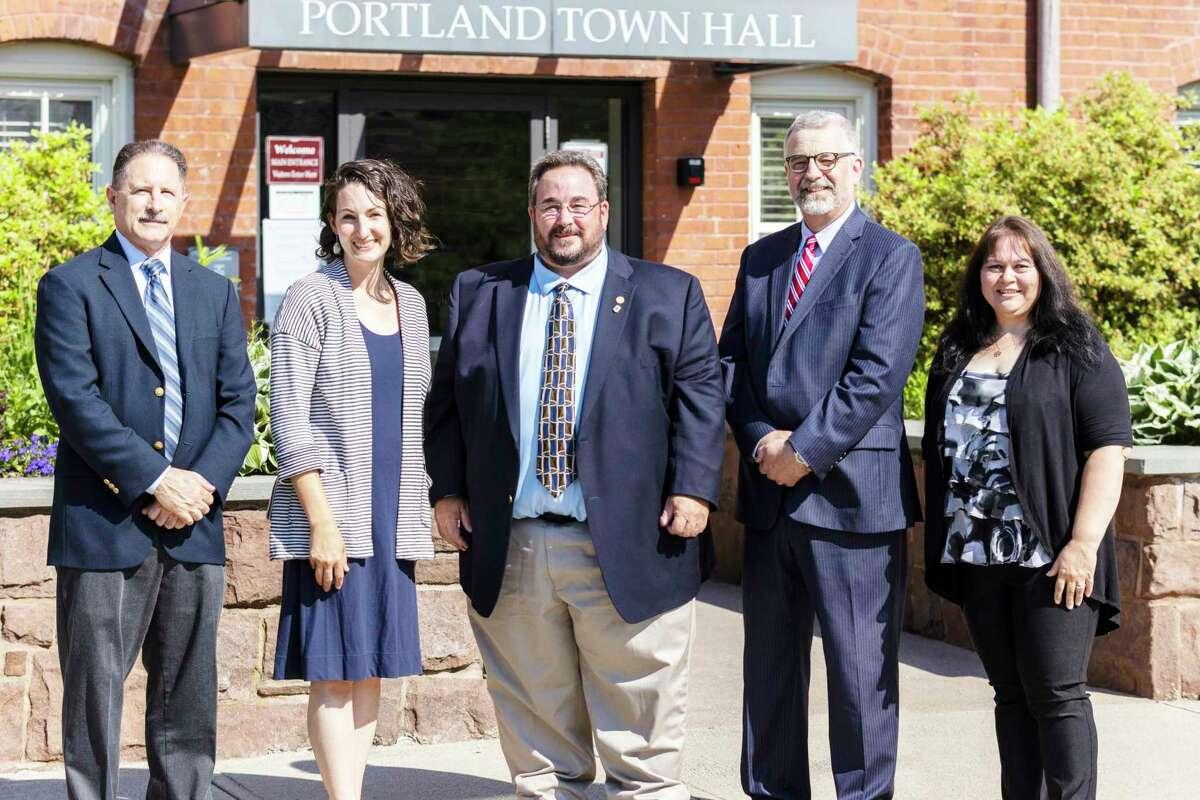 From left are Portland Democrat Board of Selectmen candidates Ralph Zampano, Laurel Steinhauser, Jim Tripp, John Dillon and April Graves.