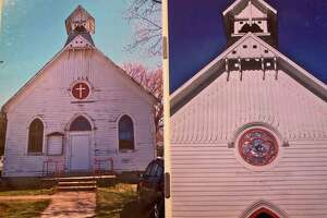 A before and after photo of the church shows the extent of repairs and renovations the building had to undergo. (Teresa Homsi/Huron Daily Tribune)