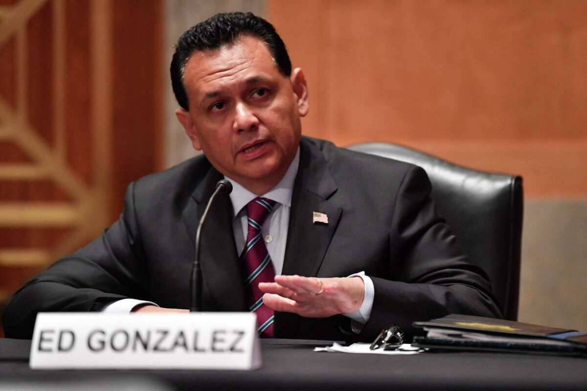 Ed Gonzalez testifies before a Senate Homeland Security Committee hearing on his nomination to be Assistant Secretary of Homeland Security for Immigration and Customs Enforcement, in Washington, DC, on July 15, 2021. (Photo by Nicholas Kamm / AFP) (Photo by NICHOLAS KAMM/AFP via Getty Images)